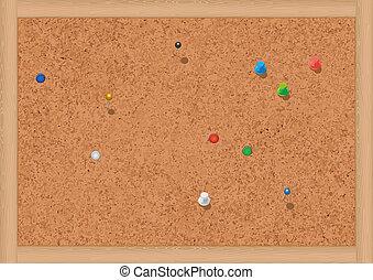 Blank notice board with thumbtacks. - Vector illustration of...