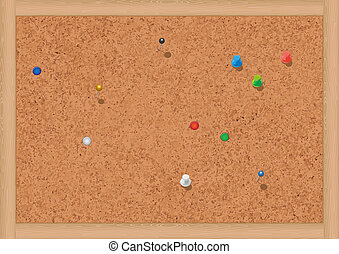 Vector illustration of a blank cork notice board with thumbtacks. All objects are isolated. Colors and transparent background color are easy to adjust.