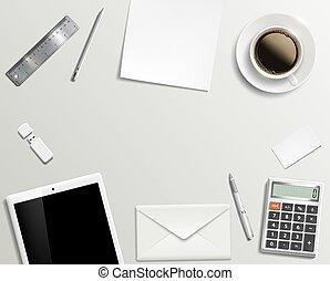 Blank office desk background.
