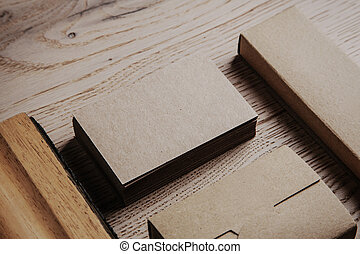 Blank office elements on the wooden background. - Blank...
