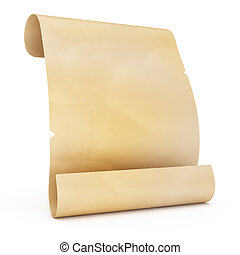 blank old manuscript isolated on white background. 3d render