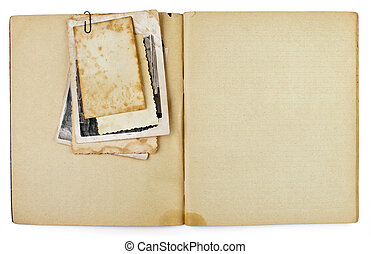 blank old opened diary or copybook with photos bunch...