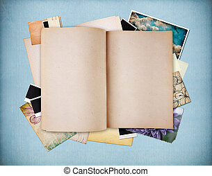 Blank old textured notebook on blue vintage paper with ...