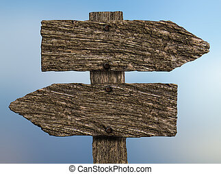 Blank, Old Wooden Two-way Signpost