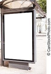 blank on bus stop - empty white space on street billboard, ...