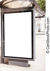 blank on bus stop - empty white space on street billboard,...