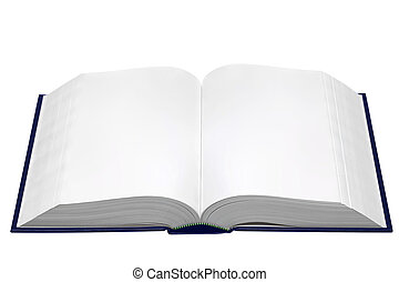 A hardback book opened with blank pages isolated on a white background.