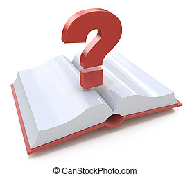 Blank open book and a question mark. 3d render illustration