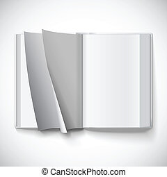 Blank open book, turn the pages, vector illustration with...