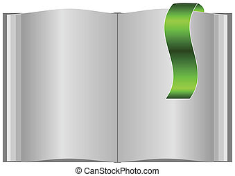 Blank open book with bookmark.