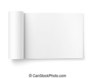 Blank open magazine template, wide format.