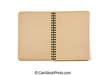 Blank open notebook in isolated white