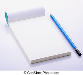 Blank open notebook with pencil