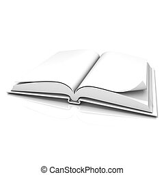 Blank open white book, isolated