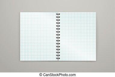 Blank open white notebook vector illustration