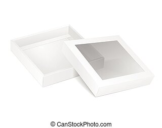 blank opened cardboard box with transparent window