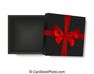 Blank opened gift box with red ribbon and a bow, isolated on white background, vector illustration. Poster, card or brochure template.