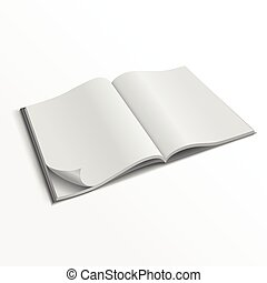 Blank opened magazine cover vector template