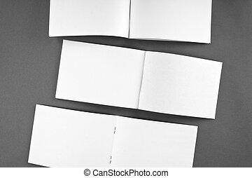 Blank opened magazine isolated on grey background