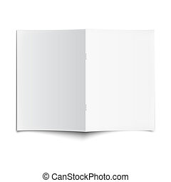 Blank opened magazine template with soft shadows.
