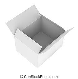 Blank opened white box. 3d rendering