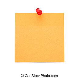 Blank orange paper note