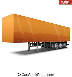 Blank orange parked semi trailer