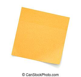 Blank Orange Post-It Note isolated on white background