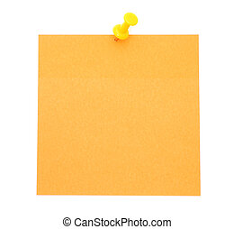Blank orange post-it note isolated on white background