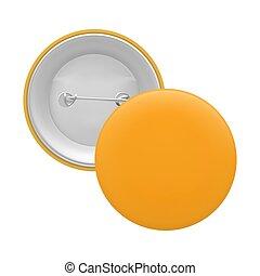 Blank orange round pin isolated on white background