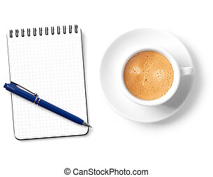 Blank organizer with pen and coffee cup