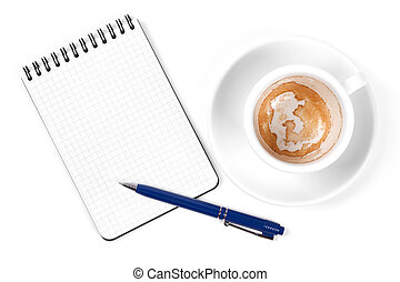 Blank organizer with pen and empty coffee cup