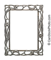Blank Ornate Metal Picture Photo Frame Isolated on White...
