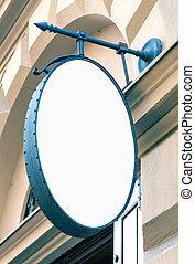 Blank oval restaurant signage mockup