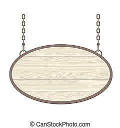 Blank oval wooden signboard hanging on metallic chain. Vector flat monochrome
