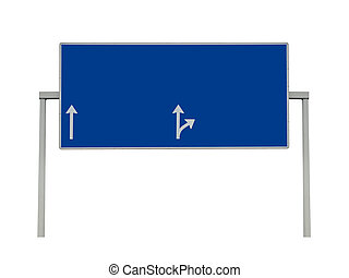 Blank overhead sign highway isolated