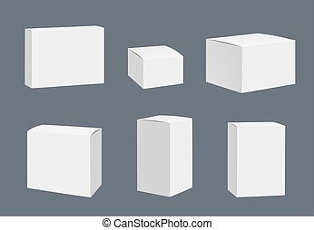 Blank packages mockup. Quadrate white closed boxes...