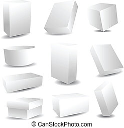 Collection of white blank packaging boxes
