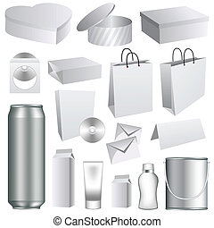 Blank packaging templates collection. Set of white dummies