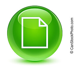 Blank page icon glassy green round button