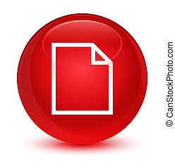 Blank page icon glassy red round button