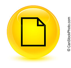 Blank page icon glassy yellow round button