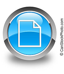 Blank page icon glossy cyan blue round button