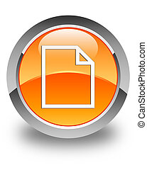 Blank page icon glossy orange round button