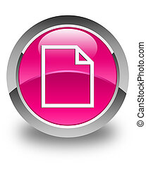 Blank page icon glossy pink round button