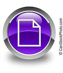 Blank page icon glossy purple round button