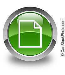 Blank page icon glossy soft green round button
