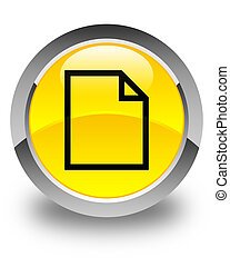 Blank page icon glossy yellow round button