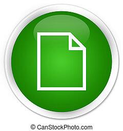Blank page icon premium green round button