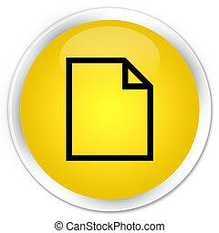 Blank page icon premium yellow round button